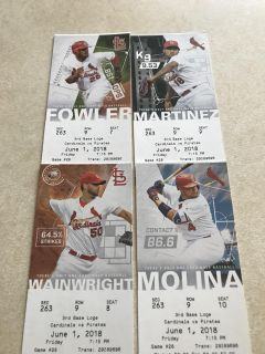 I have 4 tickets for this Friday s Cardinal vs. Pirates game in St. Louis. $25 each. East Peoria pickup