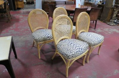 Vintage Mid century set of 4 rattan dining chairs