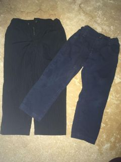 2 pairs of size 3T dress pants. Black are Quiksilver, Blue are Rococco. $3 each.