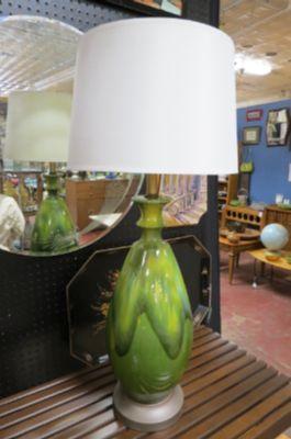 Vintage Mid century modern Green drip ceramic lamp