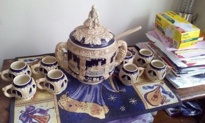 German Vintage soup pottery set (8 mugs)