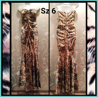 WOMENS STRAPLESS ANIMAL PRINT FITTED MERMAID STYLE FORMAL DRESS SIZE 6