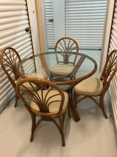Rattan Dining Table and 4 Chairs