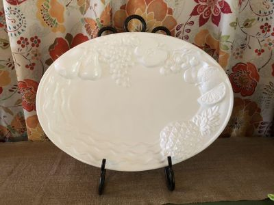 NWOT Gorgeous Ornate Platter from Portugal. 20 x 14 . Perfect for Upcoming Holidays. Stand Not for Sale