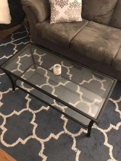 Glass coffee table & end table