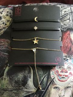 Set of four chokers new with tag star moon crystal gift of all