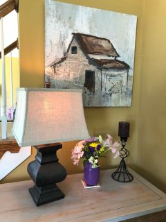 Rarely used, very pretty upscale rustic dark brown lamp with linen shade.