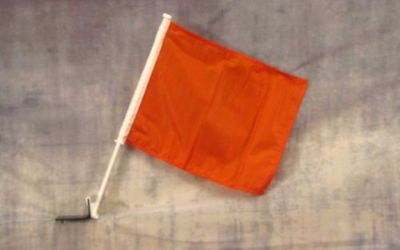 "Sell 2 Orange Decor CAR FLAG 12"" x 15"" x 16-1/2"" Window Roll Up Banner + pole (wo) motorcycle in Castle Rock, Washington, United States, for US $19.95"