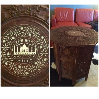 Indian Rosewood Carved Table with Taj Mahal Inlay