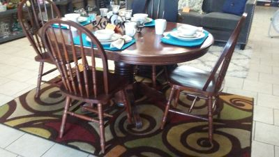 all wood dining table w/4 chairs