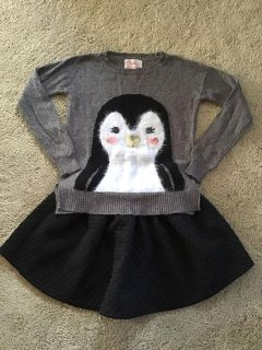 Justice embellished sweater size 10 & Cat & Jack quilted skirt size 10/12