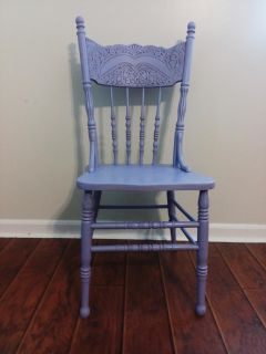 Lavender pressed back wooden chair Antique finish