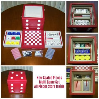 New Sealed Multi Game Set - Chess, Checkers, Poker, Dominoes, Cards & Dice