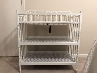 White Jenny Lind style changing table