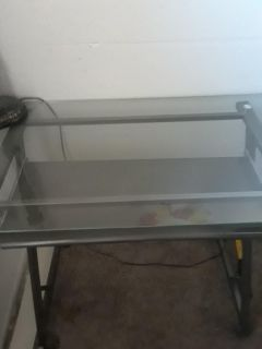 Glass top computer table