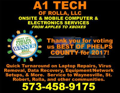 A1 TECH OF ROLLA PROVIDES MOBILE & ONSITE SERVICE - VOTED BEST IN PHELPS COUNTY