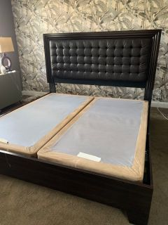 King Leather Tufted Bed