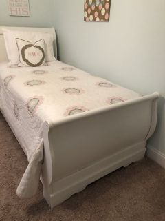 White Twin Sleigh Bed-complete with mattresses