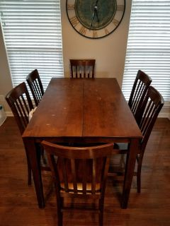 Counter height solid wood dining table with 6 chairs