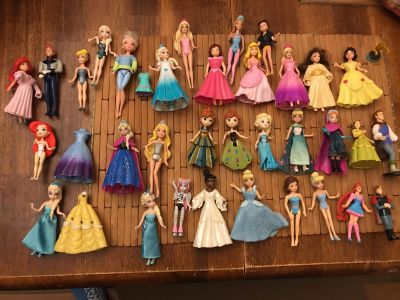 Disney and Barbie small doll lot