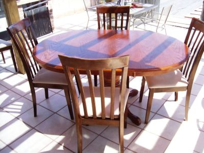 Solid Large Dining Wooden Table With Four Matching Chairs