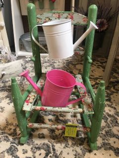 Vintage rocking chair upcycled into planter