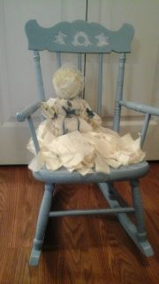 Antique Childs Rocking Chair With Vintage Rag Doll