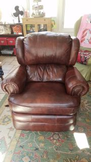 Brown Leather Recliner with Nailhead Trim