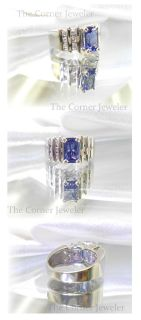 14K White Gold Tanzanite and Diamond, approx 1.5ctw Ring, Size 5.5