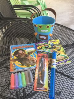 Gently Used Robot Tote & *NEW* 2 Activity Books, Blue Bubble Wand, Glider, & Sidewalk Chalk