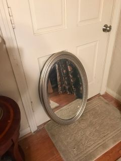 BEAUTIFUL SILVER RIMMED MIRROR $20