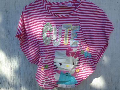 Hello Kitty Girl s Top Size Small 6 / 6X Pink & White Stripes - Cute