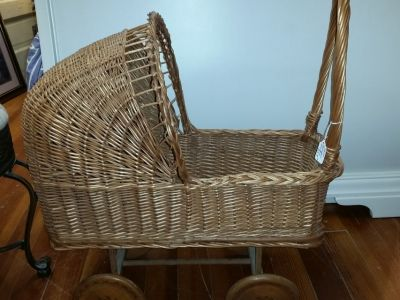 Wicker baby doll buggy