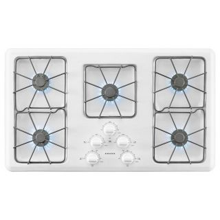 Amana 36 in. Gas Cooktop in White with 5 Burners AGC6356KFW