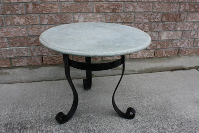 Marble & Wrought Iron Side Table