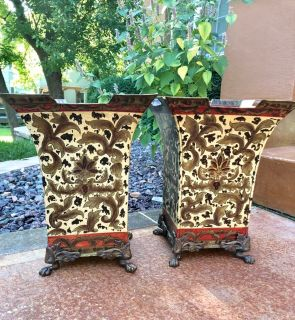 Vintage Metal Tole Jardini res - Sold as a Pair