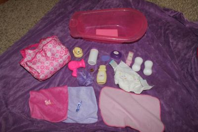 Baby Alive and You and Me Baby Doll Bathing Tub, Diaper Bag, Diapering, Feeding and Bathing Accessories