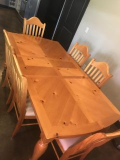 White oak dining table with 6 chairs