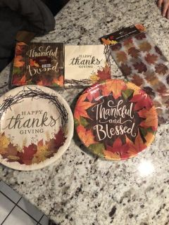 Thanksgiving plates/napkins/table cover