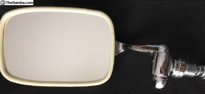 VIntage Aftermarket VW Beetle Mirror White-Trimmed