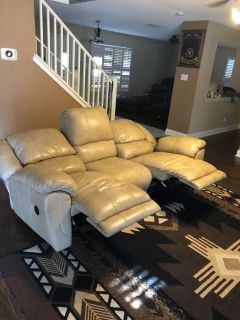 Very Clean Cream Leather Recliner