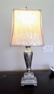 Lamp Silver Gold Accent Heavy Metal With Shade