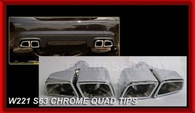 Sell SQUARE MERCEDES ALL CHROME S63 E63 MUFFLER TIPS EXHAUST C63 W212 W221 S550 W204 motorcycle in North Hollywood, California, US, for US $339.00