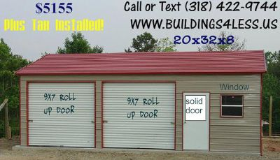 $5,155, steel shops, barns, carports, garages, and more...rent to own available.