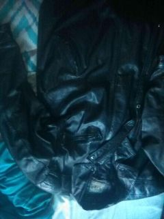 Azia collection leather coat has hood