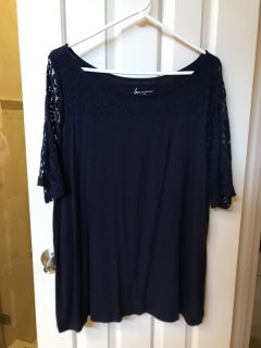 Lane Bryant navy shirt with lace sleeves