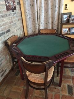 Vintage folding poker table and four chairs and three signs
