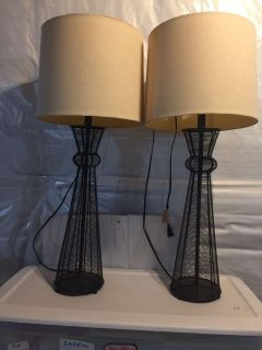 Table lamps- 35 tall. Rustic look