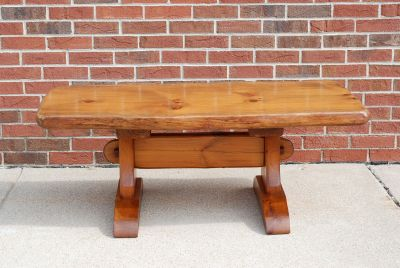 Solid Wood Rustic Trestle Coffee Table or Bench