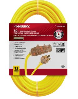 HUSKY 50 ft. 12/3 Lighted Triple Tap Extension Cord